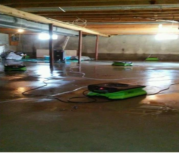 Basement with drying equipment